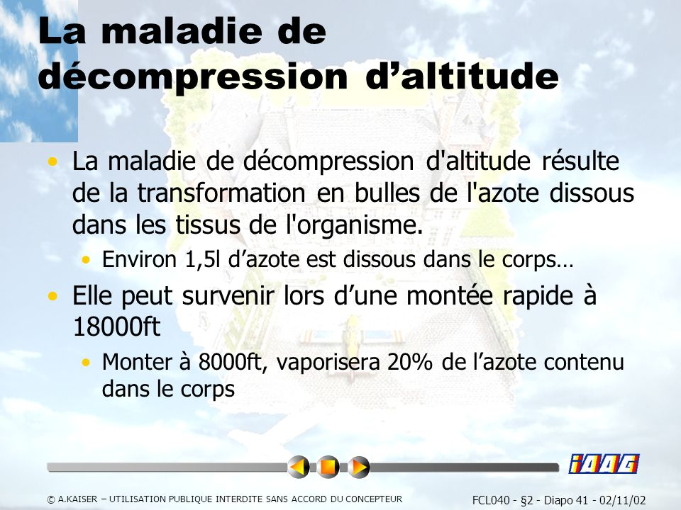 La maladie de décompression d'altitude