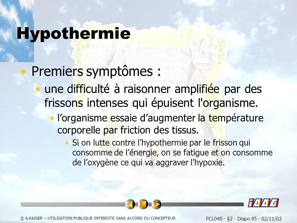 Hypothermie Premiers symptômes :