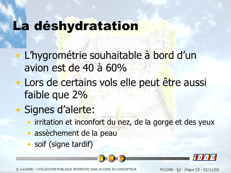 La déshydratation L'hygrométrie souhaitable à bord d'un avion est de 40 à 60% Lors de certains vols elle peut être aussi faible que 2%
