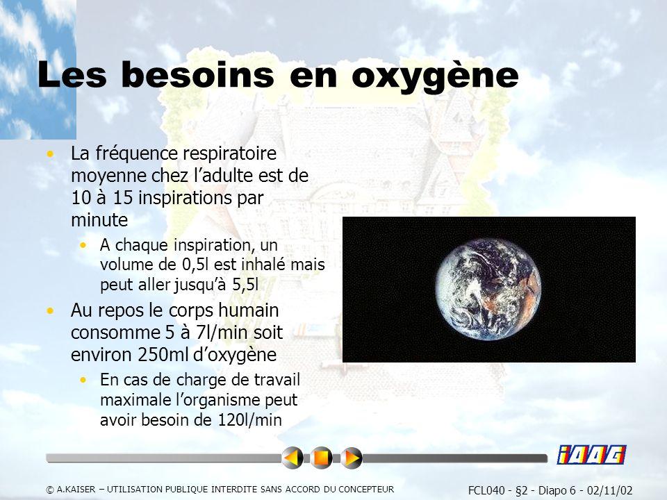 Les besoins en oxygène La fréquence respiratoire moyenne chez l'adulte est de 10 à 15 inspirations par minute.