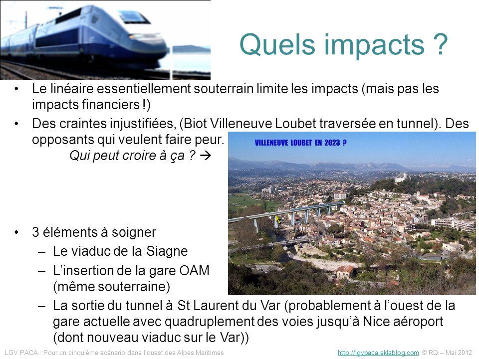 Quels impacts Le linéaire essentiellement souterrain limite les impacts (mais pas les impacts financiers !)