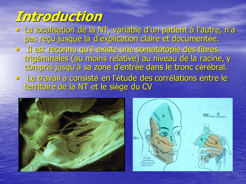 Introduction La localisation de la NT, variable d'un patient à l'autre, n'a pas reçu jusque là d'explication claire et documentée.