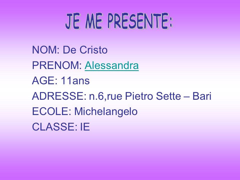 JE ME PRESENTE: NOM: De Cristo PRENOM: Alessandra AGE: 11ans