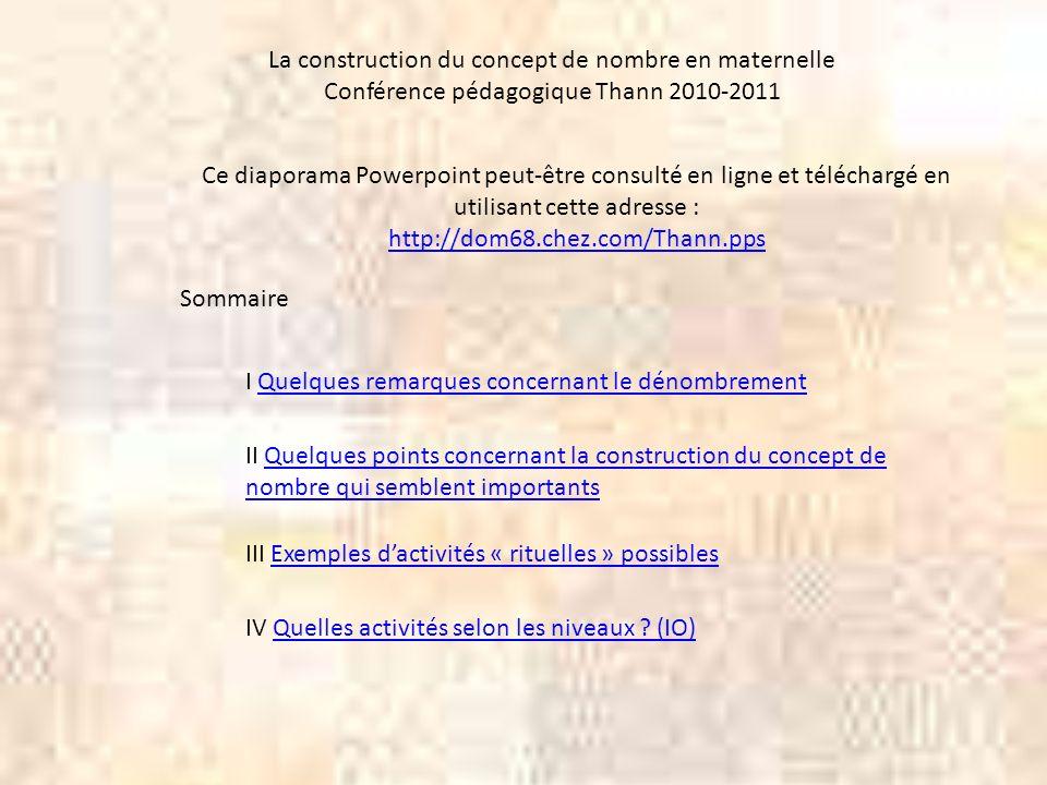 La construction du concept de nombre en maternelle Conférence pédagogique Thann 2010-2011