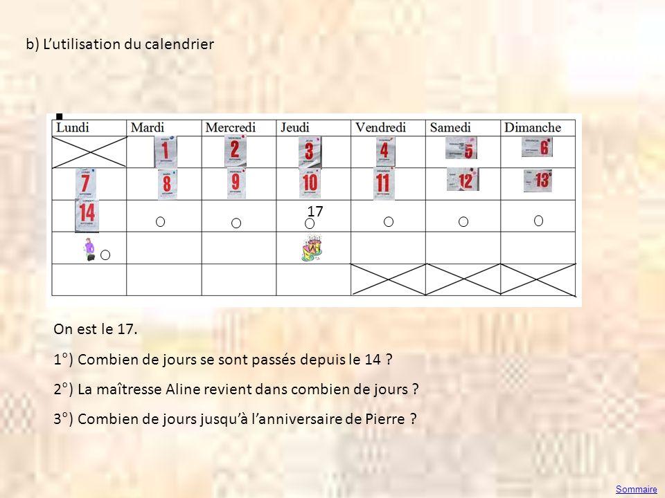 b) L'utilisation du calendrier
