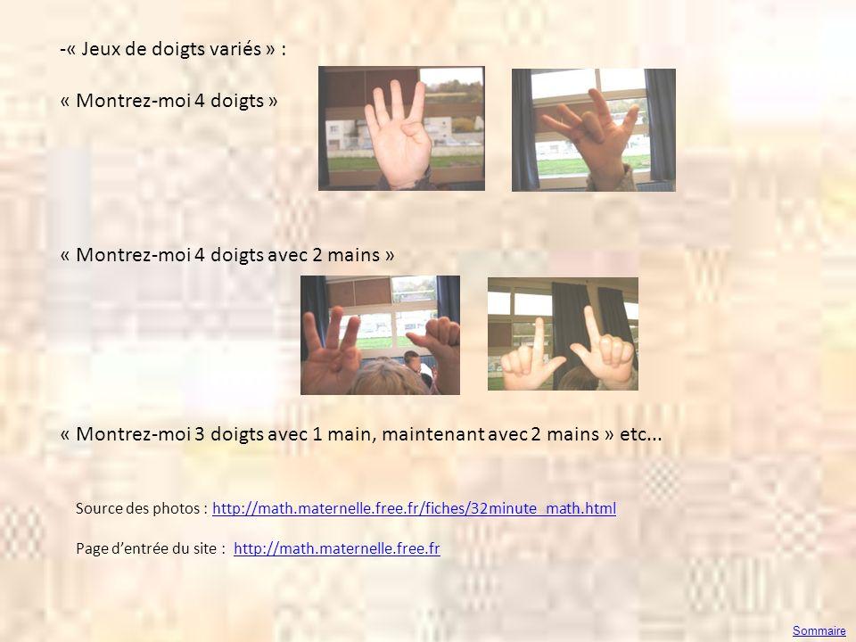 « Jeux de doigts variés » : « Montrez-moi 4 doigts »