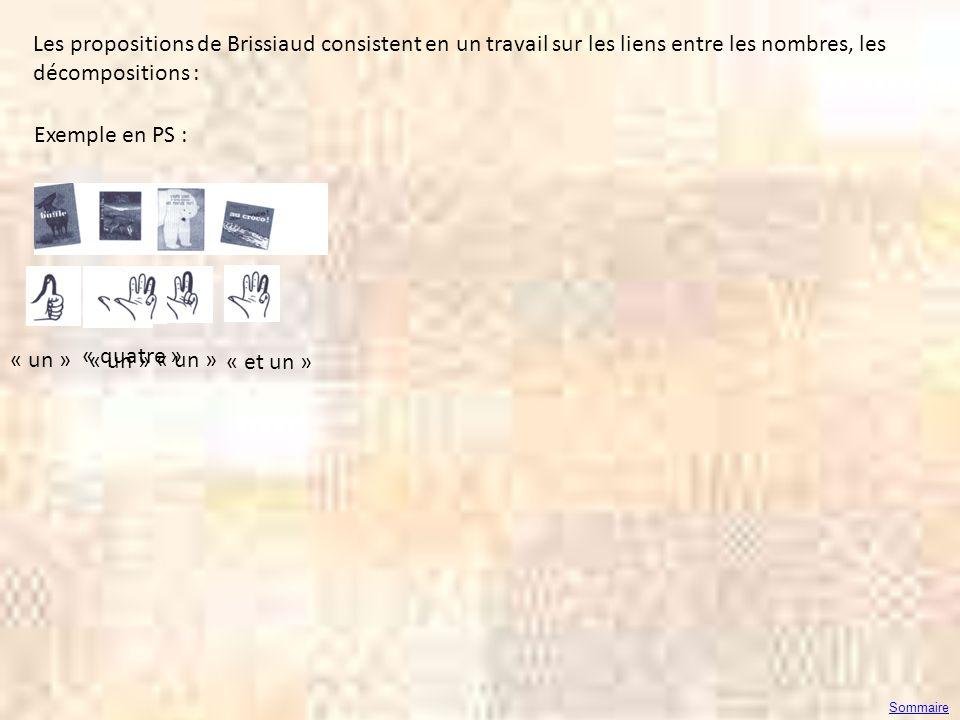 Les propositions de Brissiaud consistent en un travail sur les liens entre les nombres, les décompositions :