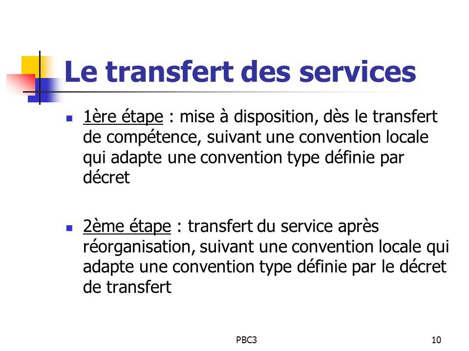 Le transfert des services
