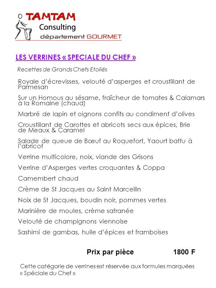 LES VERRINES « SPECIALE DU CHEF »