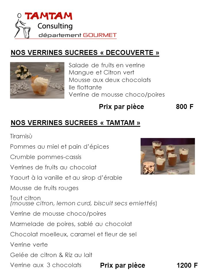 NOS VERRINES SUCREES « DECOUVERTE »