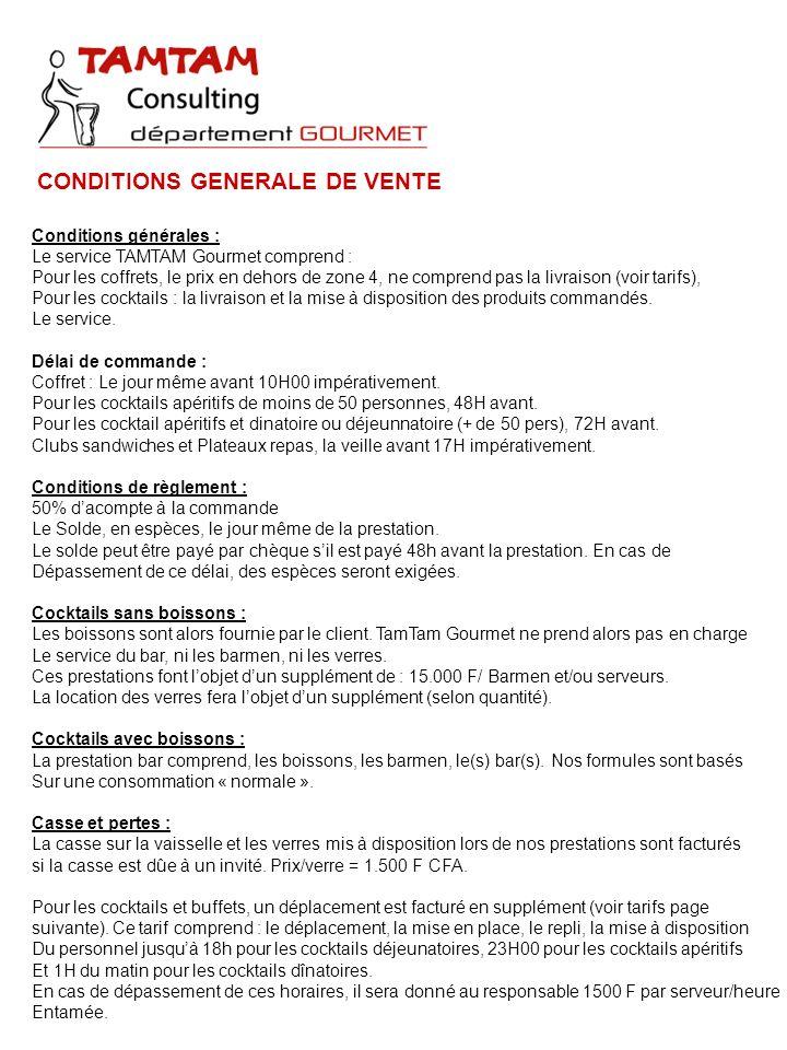 CONDITIONS GENERALE DE VENTE