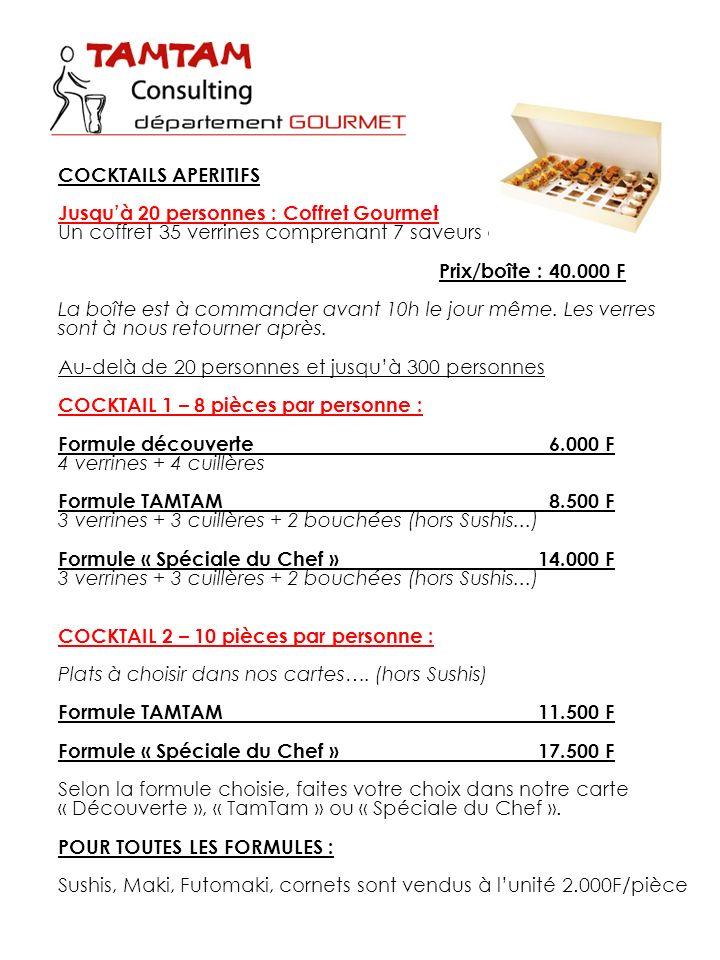COCKTAILS APERITIFS Jusqu'à 20 personnes : Coffret Gourmet. Un coffret 35 verrines comprenant 7 saveurs différentes.