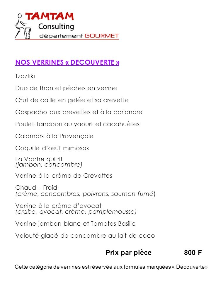 NOS VERRINES « DECOUVERTE »
