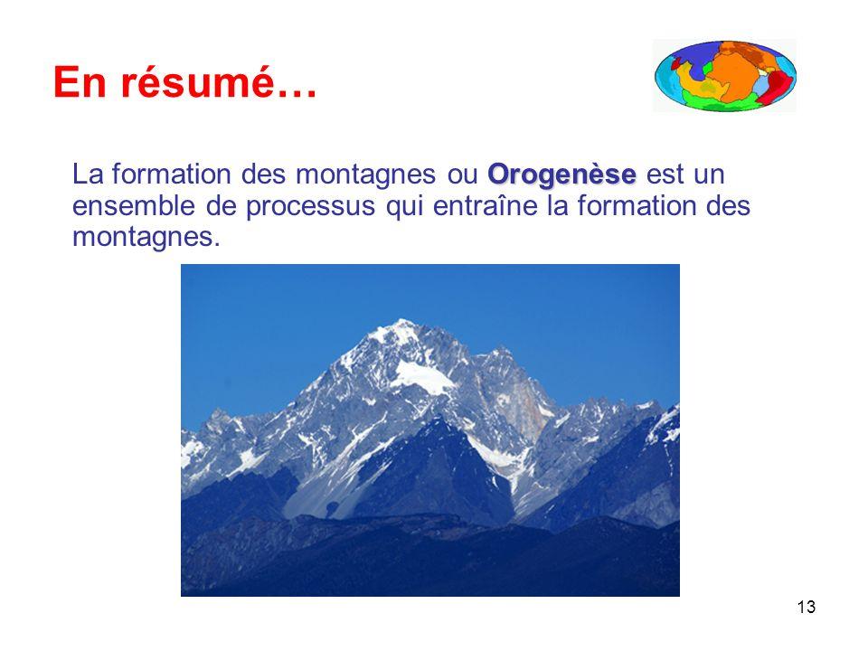 En résumé… La formation des montagnes ou Orogenèse est un ensemble de processus qui entraîne la formation des montagnes.
