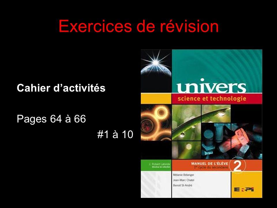 Exercices de révision Cahier d'activités Pages 64 à 66 #1 à 10