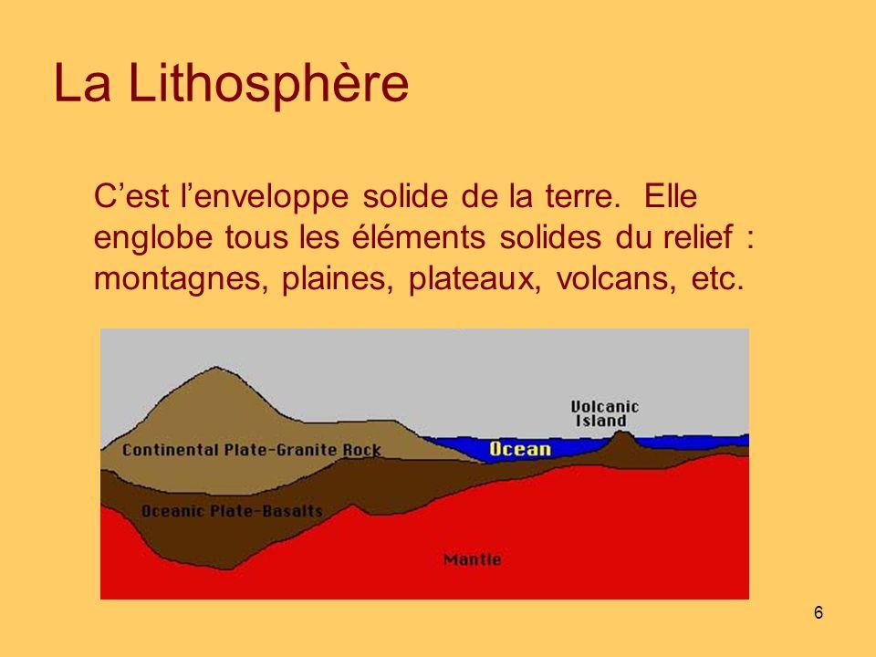 La Lithosphère C'est l'enveloppe solide de la terre.