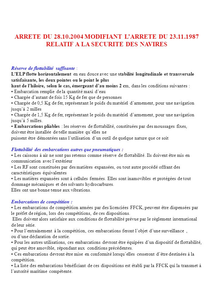 ARRETE DU 28. 10. 2004 MODIFIANT L'ARRETE DU 23. 11