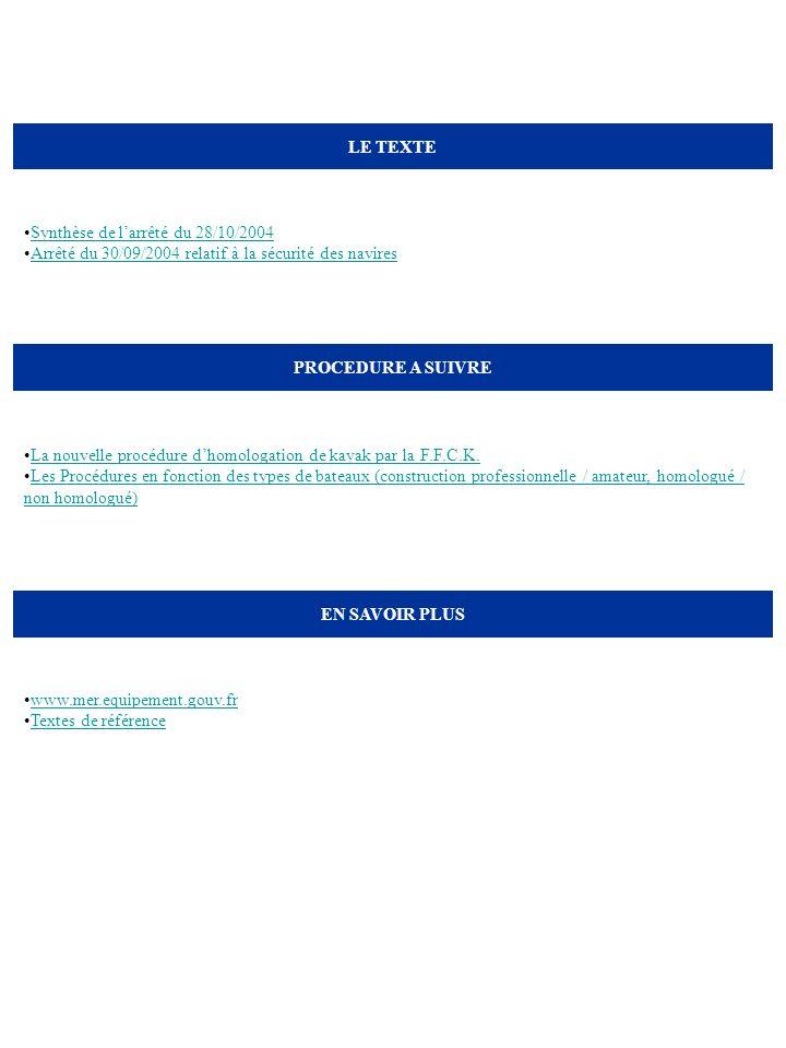 LE TEXTE Synthèse de l'arrêté du 28/10/2004