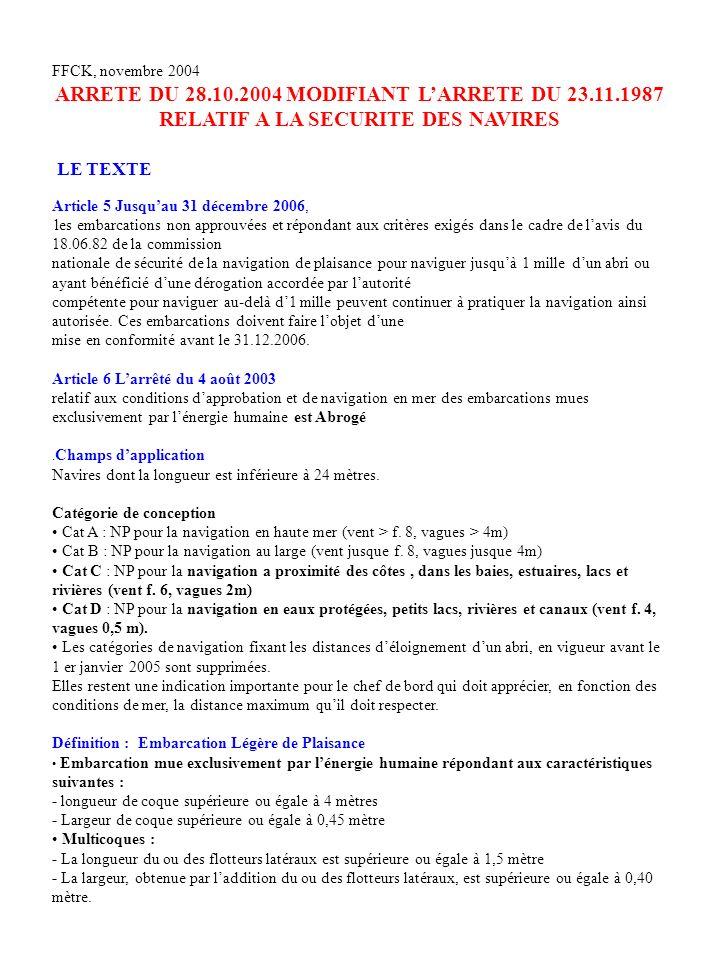 FFCK, novembre 2004ARRETE DU 28.10.2004 MODIFIANT L'ARRETE DU 23.11.1987 RELATIF A LA SECURITE DES NAVIRES.