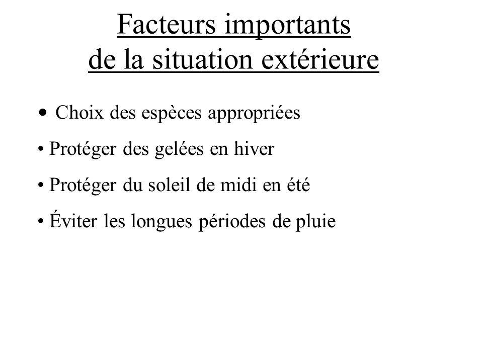 Facteurs importants de la situation extérieure