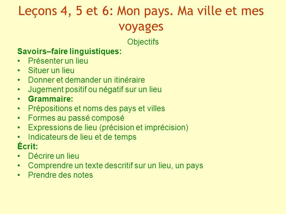 Leçons 4, 5 et 6: Mon pays. Ma ville et mes voyages
