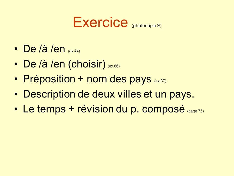 Exercice (photocopie 9)