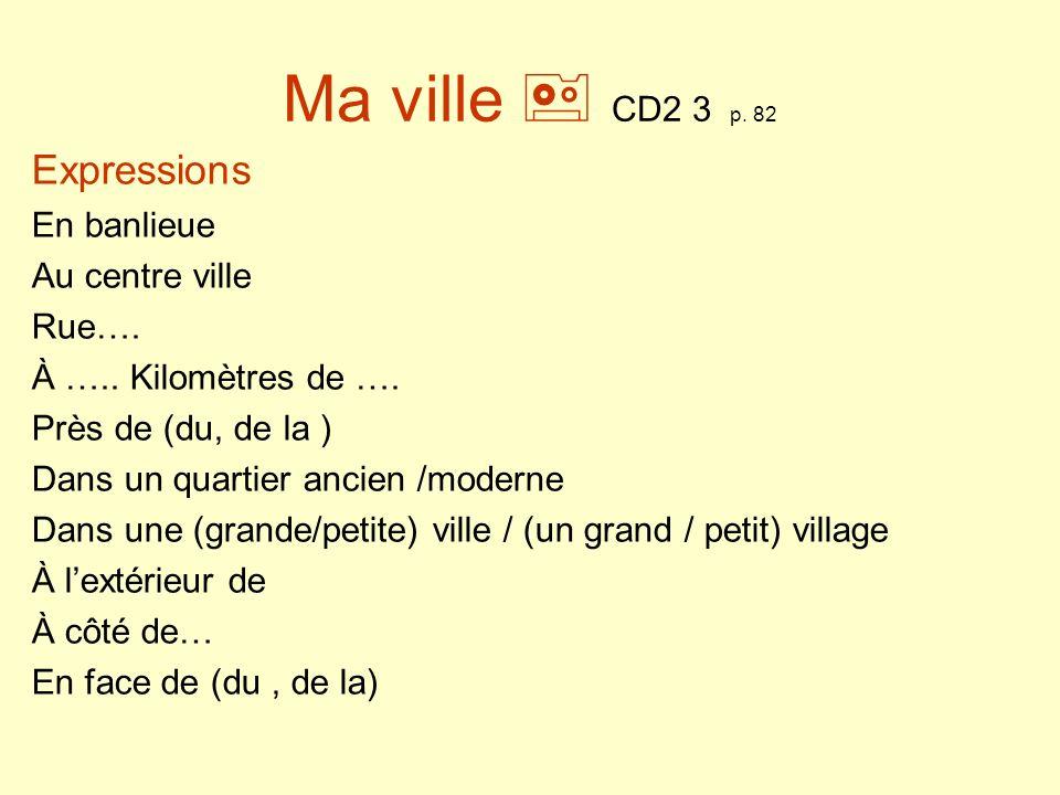 Ma ville  CD2 3 p. 82 Expressions En banlieue Au centre ville Rue….