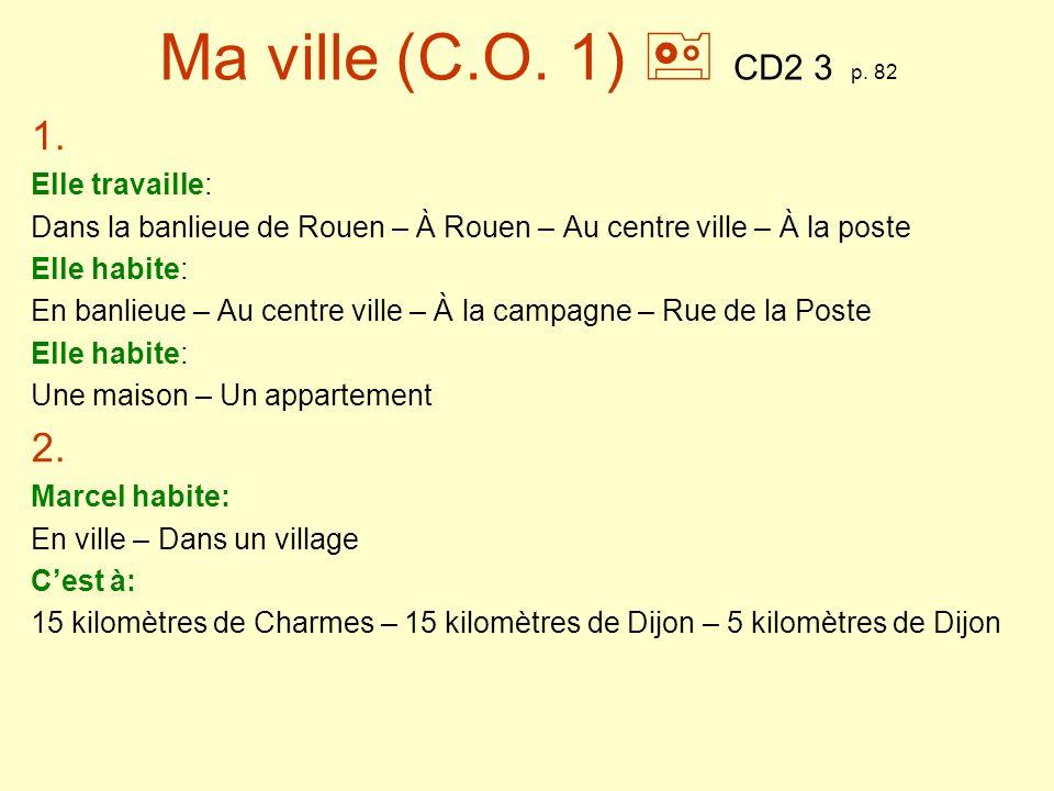 Ma ville (C.O. 1)  CD2 3 p. 82 1. 2. Elle travaille: