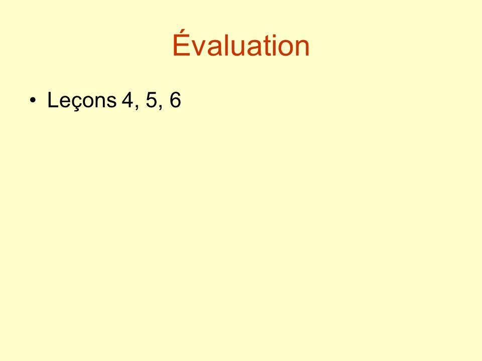 Évaluation Leçons 4, 5, 6