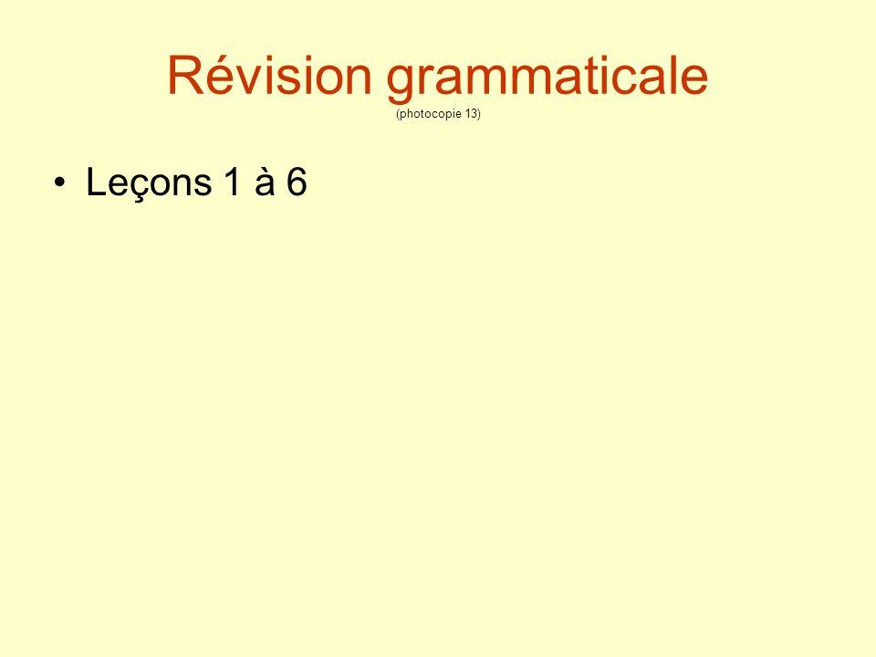 Révision grammaticale (photocopie 13)