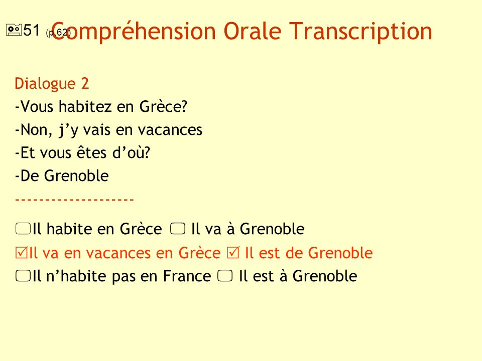 Compréhension Orale Transcription