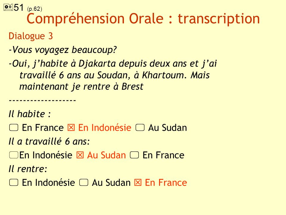 Compréhension Orale : transcription
