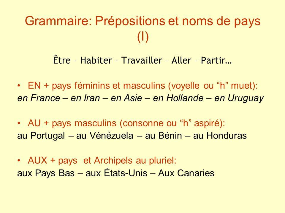 Grammaire: Prépositions et noms de pays (I)