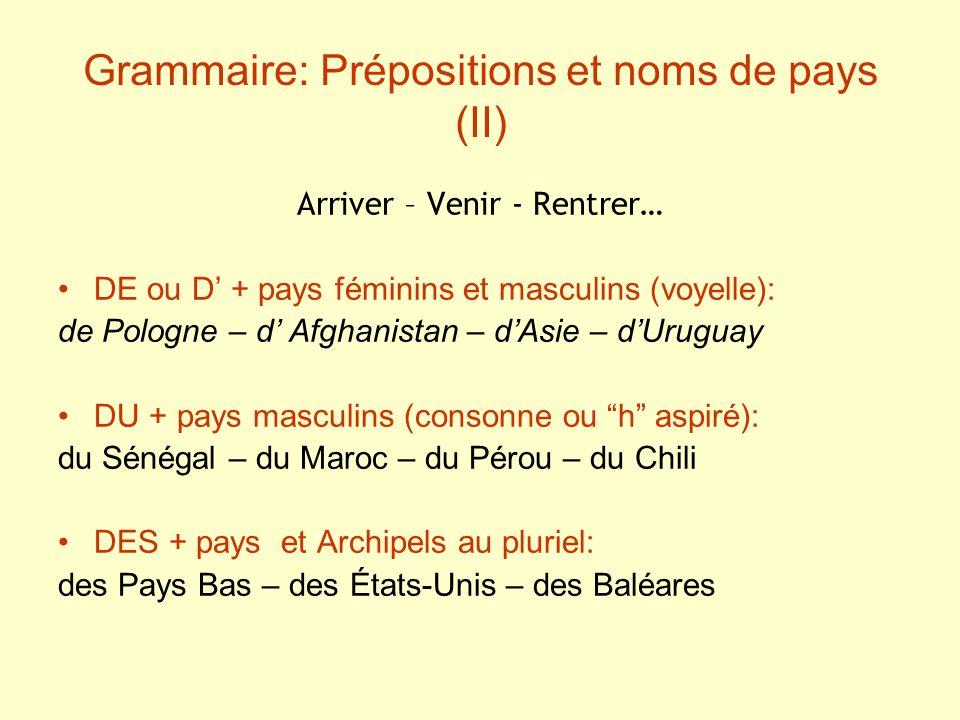 Grammaire: Prépositions et noms de pays (II)