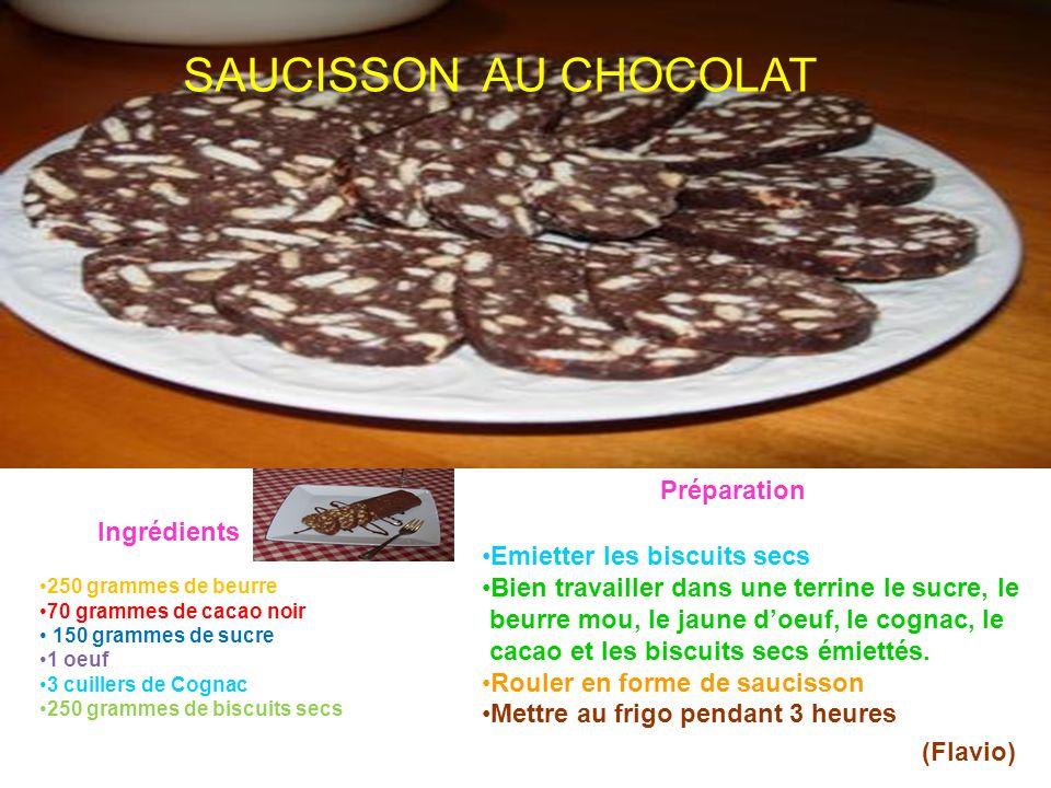 SAUCISSON AU CHOCOLAT Préparation Ingrédients