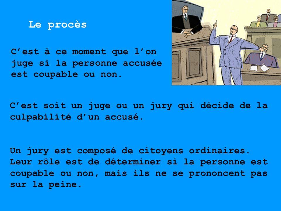 Le procès C'est à ce moment que l'on juge si la personne accusée est coupable ou non.