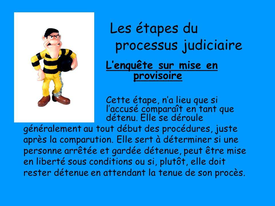 Les étapes du processus judiciaire