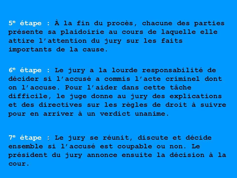 5e étape : À la fin du procès, chacune des parties présente sa plaidoirie au cours de laquelle elle attire l'attention du jury sur les faits importants de la cause.