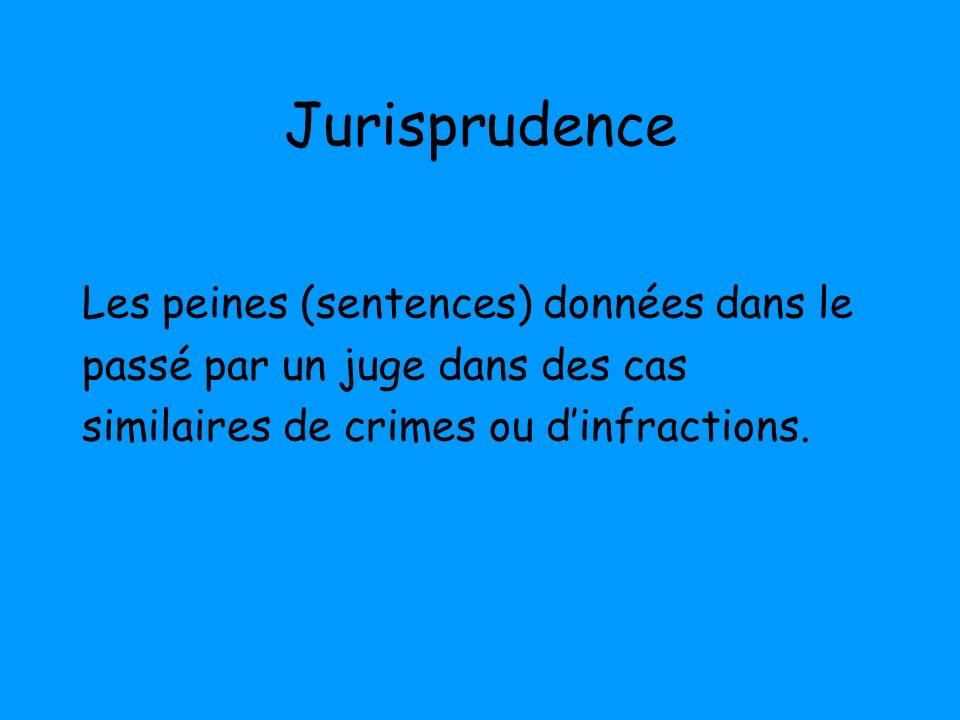 Jurisprudence Les peines (sentences) données dans le