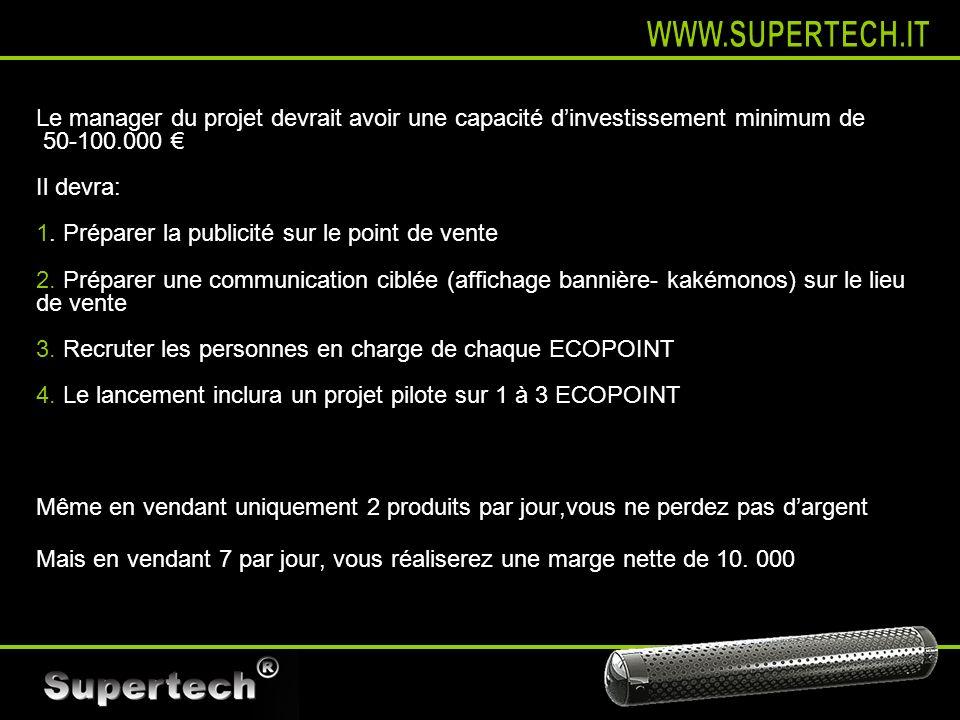 WWW.SUPERTECH.IT Le manager du projet devrait avoir une capacité d'investissement minimum de. 50-100.000 €