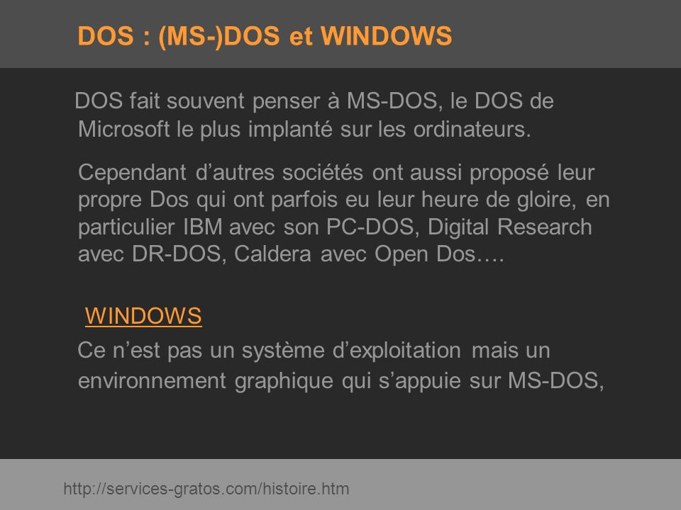 DOS : (MS-)DOS et WINDOWS