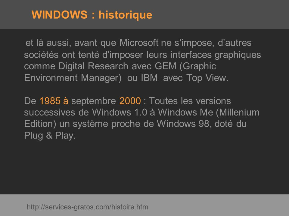 WINDOWS : historique