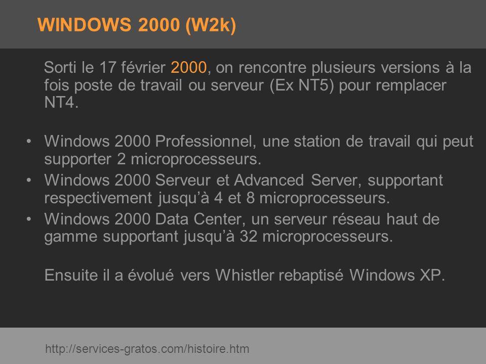 WINDOWS 2000 (W2k) Sorti le 17 février 2000, on rencontre plusieurs versions à la fois poste de travail ou serveur (Ex NT5) pour remplacer NT4.