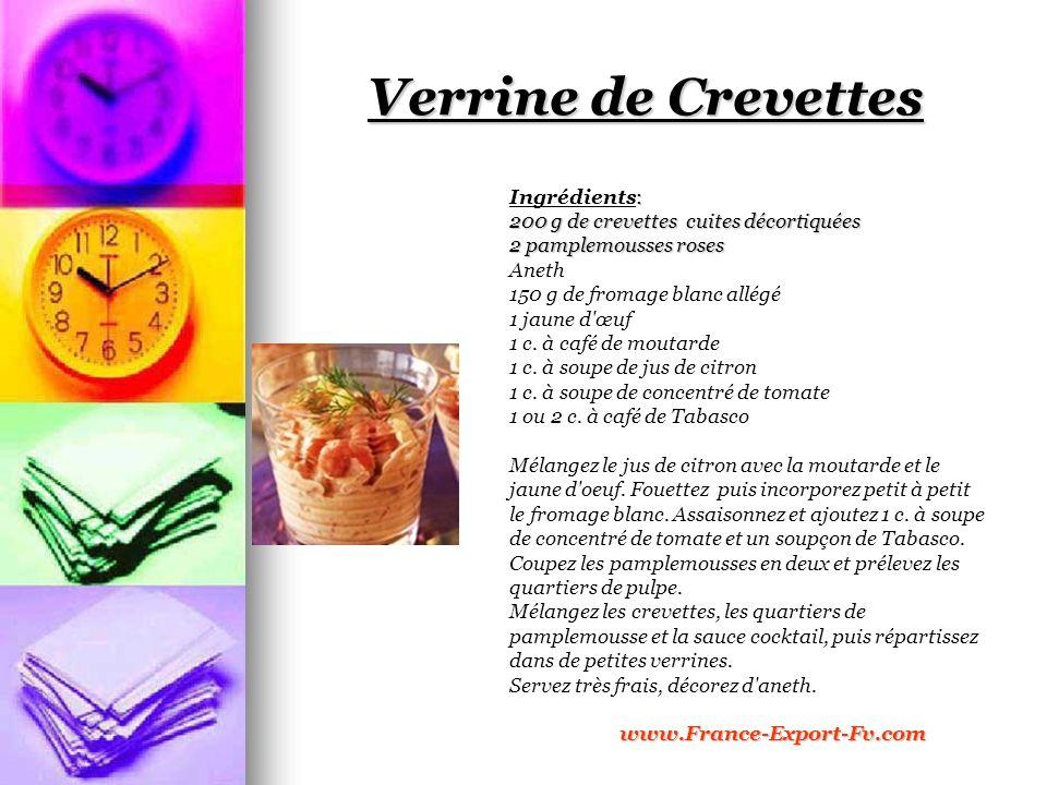 Verrine de Crevettes Ingrédients: