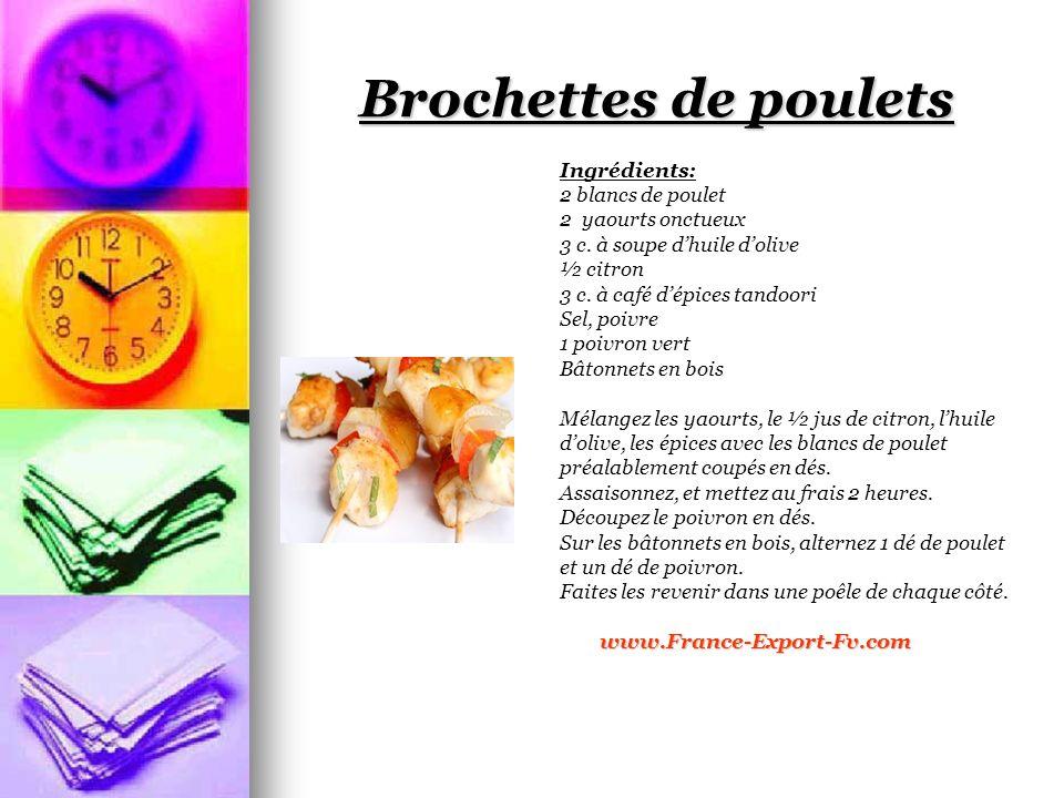 Brochettes de poulets Ingrédients: 2 blancs de poulet