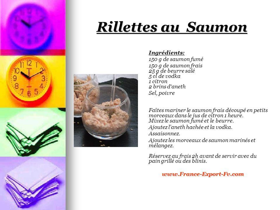 Rillettes au Saumon Ingrédients: 150 g de saumon fumé