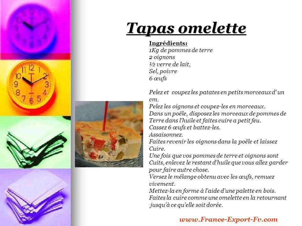 Tapas omelette Ingrédients: 1Kg de pommes de terre 2 oignons