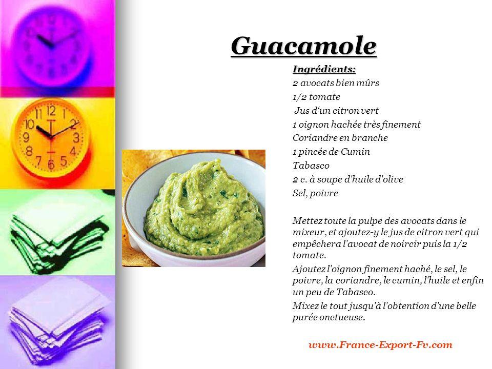 Guacamole Ingrédients: 2 avocats bien mûrs 1/2 tomate