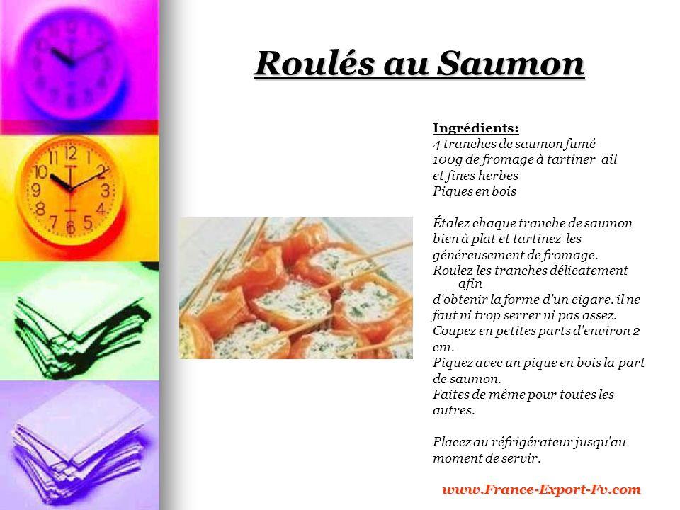 Roulés au Saumon Ingrédients: 4 tranches de saumon fumé