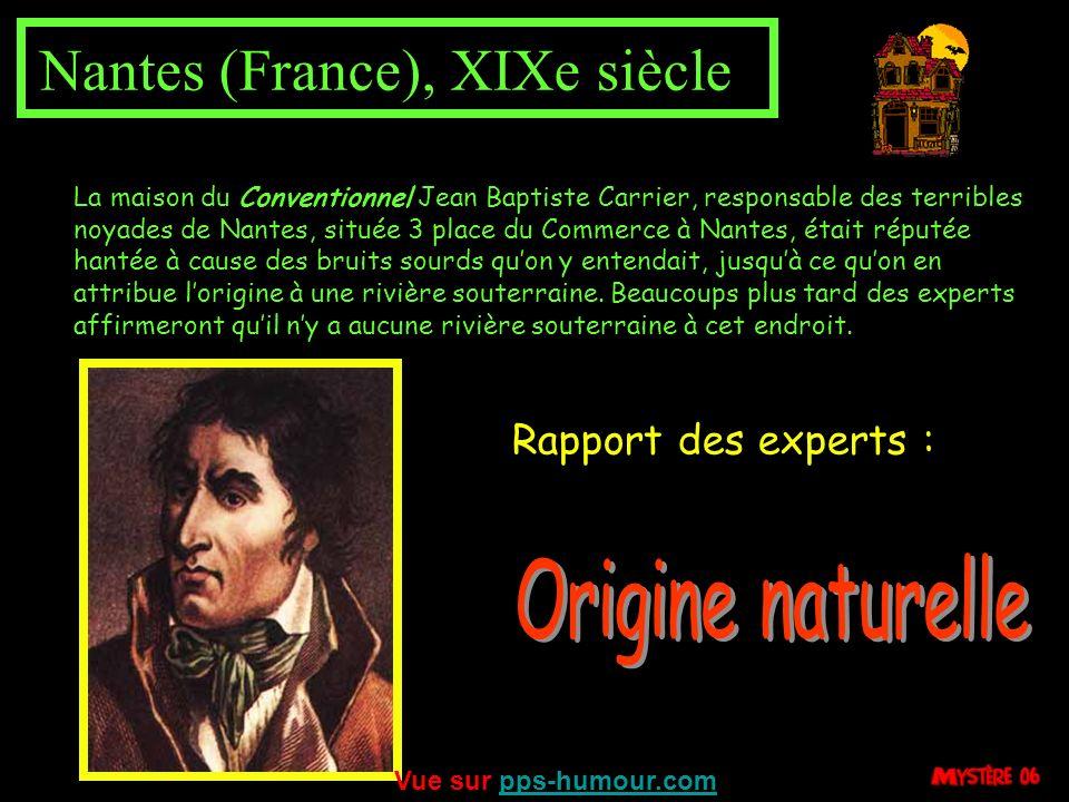 Origine naturelle Rapport des experts : Nantes (France), XIXe siècle